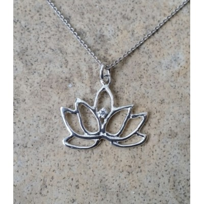 Lotus Necklace with Diamond in Sterling Silver or Gold with chain