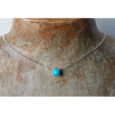 Genuine Turquoise Choker - 5mm Turquoise choker necklace in Sterling Silver or Gold