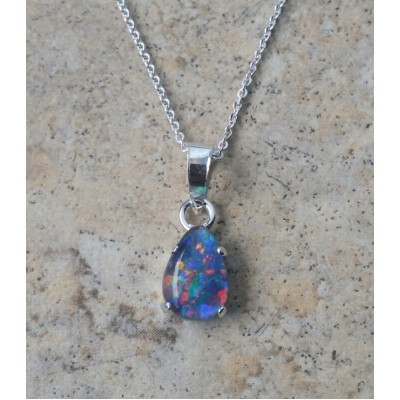 Opal teardrop necklace in Sterling Silver or Gold