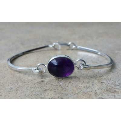 Amethyst 8mm cuff bracelet in Sterling Silver