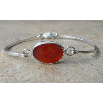 Mexican Fire Opal cuff bracelet in Sterling Silver