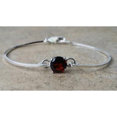 Garnet 8mm cuff bracelet in Sterling Silver