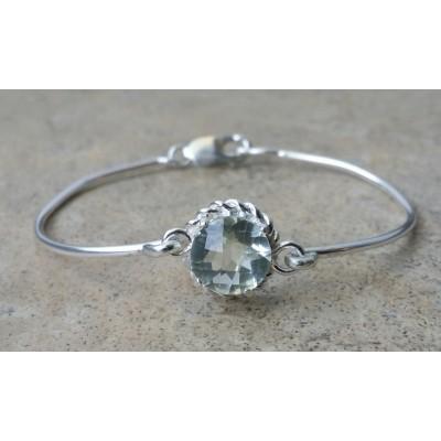 Green Amethyst (Prasiolite) 12mm round cuff bracelet in Sterling Silver
