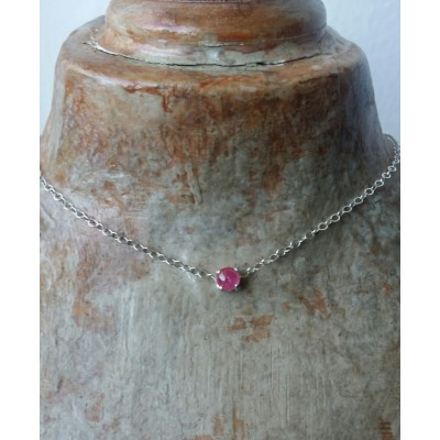 Genuine Ruby Choker - 4mm Ruby choker necklace in Sterling Silver or Gold