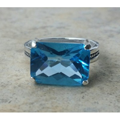 Swiss Blue Topaz sideways ring