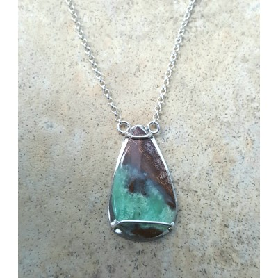 Chrysoprase on a Silver chain Necklace
