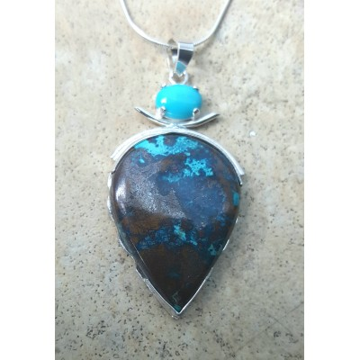 Chrysocolla Azurite in copper and Sleeping Beauty Turquoise Necklace
