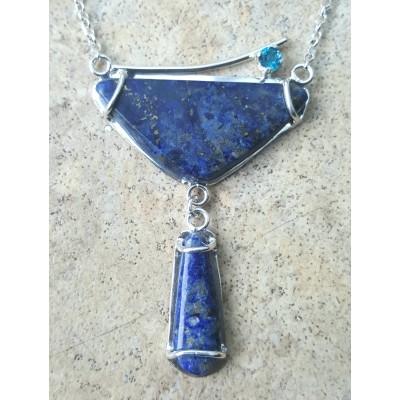 Lapis Lazuli and London Blue Topaz Drop Necklace