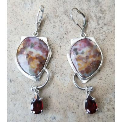 Ocean Jasper and Garnet earrings
