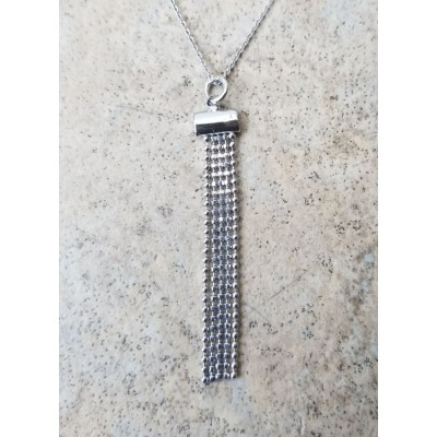 Beaded Tassel Necklace In Rhodium plated Sterling Silver