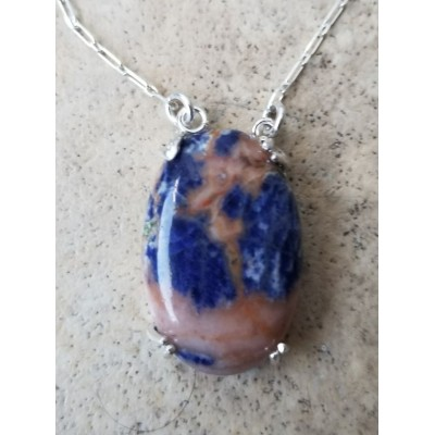 Red Vein Sodalite on a Silver chain Necklace