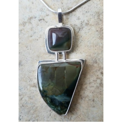 Blue Mountain Jasper and Morrisonite Jasper Necklace