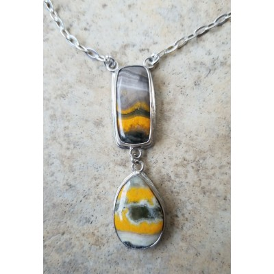 BumbleBee Jasper double drop necklace
