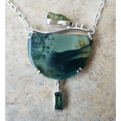 Royal Imperial Jasper, Green Tourmaline, and Rough Peridot Necklace