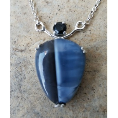 Owyhee Blue Opal and Onyx necklace