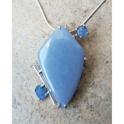 Angelite and Australian Opal necklace