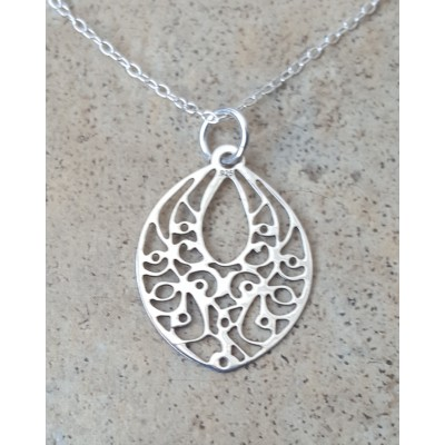 Sterling Silver abstract Marquise Necklace
