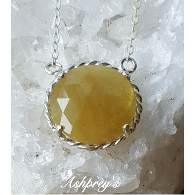 Heliodor (Yellow Aquamarine) circle reversible necklace