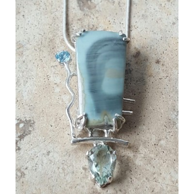 Royal Imperial Jasper, Blue Topaz, and Green Amethyst Necklace