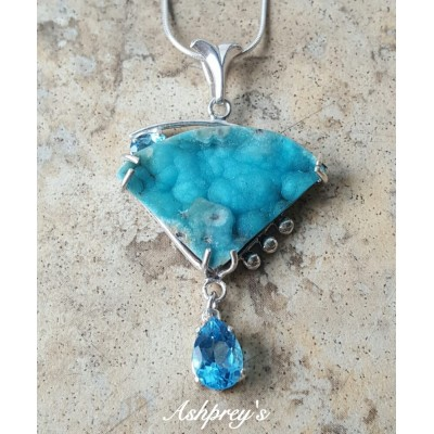 Hemimorphite and Blue Topaz Necklace