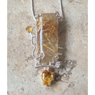 Golden Rutilated Quartz and Citrine Necklace