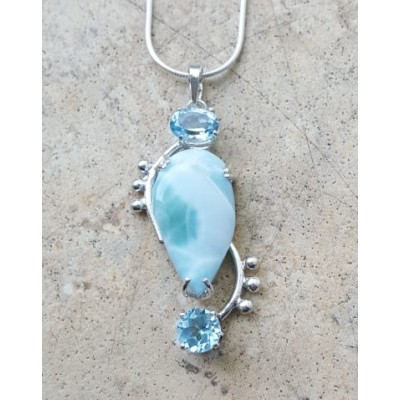 Larimar and Blue Topaz Necklace