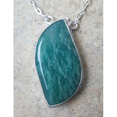 Green Amazonite Necklace on a Silver chain