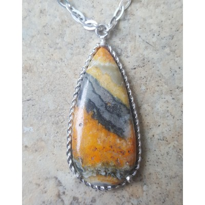 BumbleBee Jasper drop necklace in rope setting
