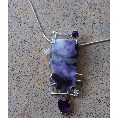 Tiffany Stone, Amethyst, CZ, and Opal Necklace