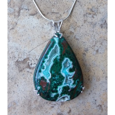 Chrysocolla Malachite Necklace with Sterling Silver chain