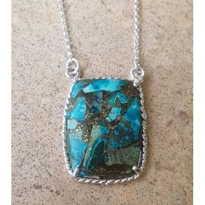 Chrysocolla in Copper Necklace