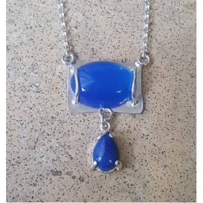 Blue Onyx Double drop necklace