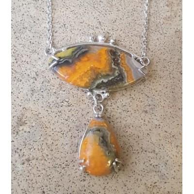 BumbleBee Jasper double drop necklace