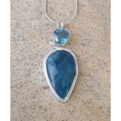 Neon Apatite and London Blue Topaz Necklace