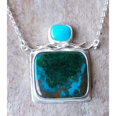 Azurite Chrysocolla Malachite with Turquoise in Sterling Silver