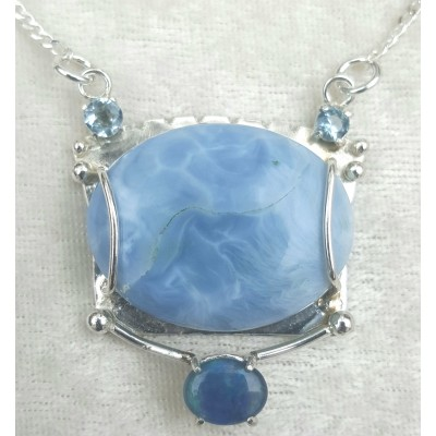 Owyhee Blue Opal and Australian Opal necklace