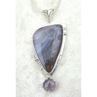 Purple Passion Agate and Light Amethyst Necklace