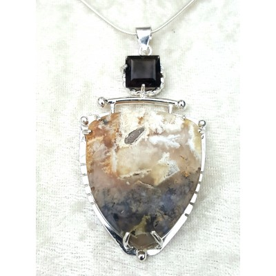 Morocco Moss Agate and Smoky Topaz necklace