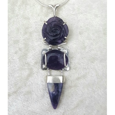 Amethyst and Morado Opal Necklace