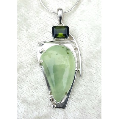 Prehnite and Green Tourmaline Necklace