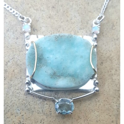 Hemimorphite, Opal, and Aqauamarine Necklace