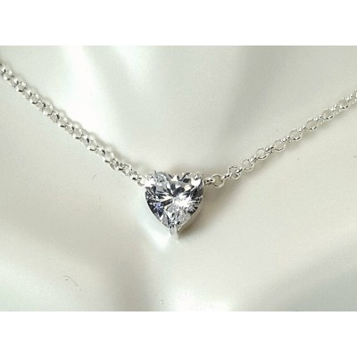 CZ heart choker necklace - 2 carat high quality Cubic Zirconia 8mm choker in Sterling Silver or Gold
