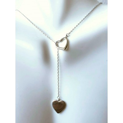 Hearts Lariat in Sterling Silver