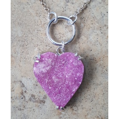 Cobalto Calcite Druzy Heart Necklace