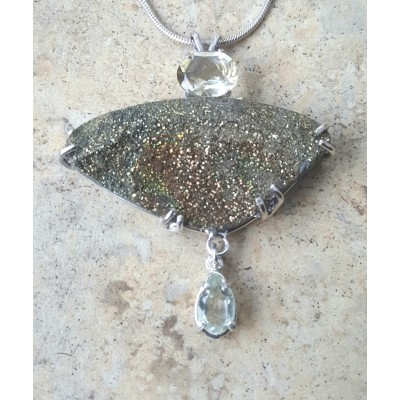 Druzy Pyrite, Citrine, and Green Amethyst Necklace