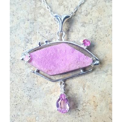 Cobalto Calcite Druzy and Pink Topaz Necklace