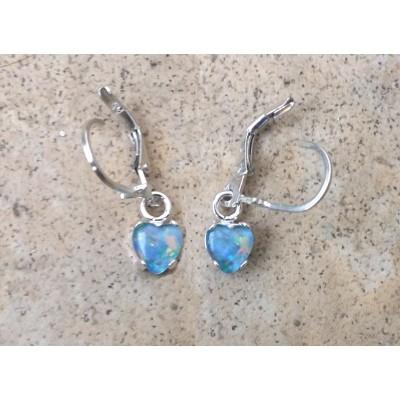 6mm Opal heart dangle earrings in Sterling Silver or Gold