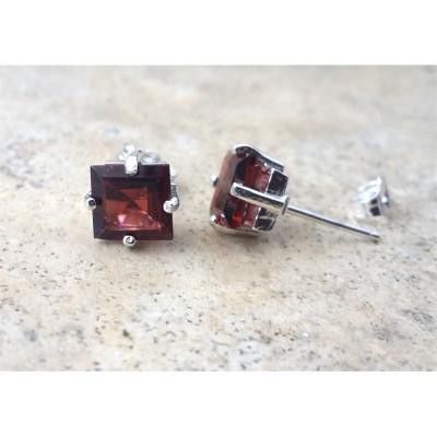 Garnet earrings-Genuine Garnet 7mm Square-cut stud earrings- January Birthstone - in Silver or Gold