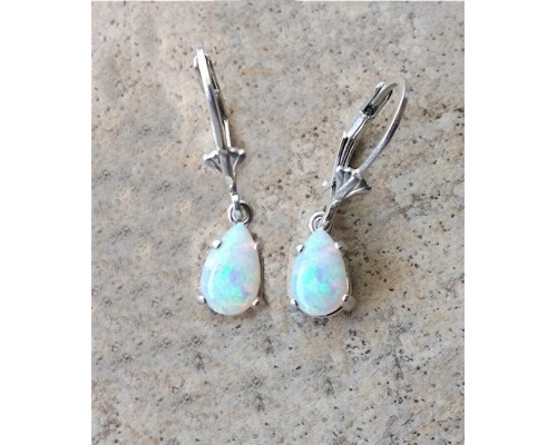 Genuine Opal (October Birthstone) drop earrings in Sterling Silver or Gold