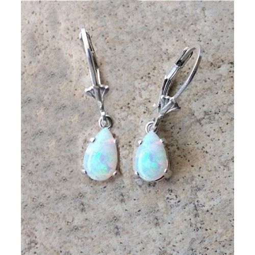 Genuine Opal October Birthstone Drop Earrings In Sterling Silver Or Gold
